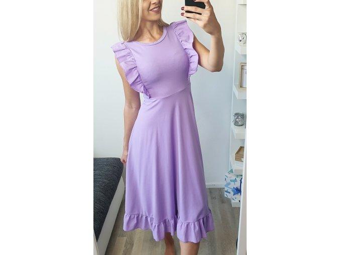 Dlhé fialové volánikové šaty