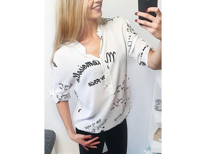 Biela popísaná košeľa
