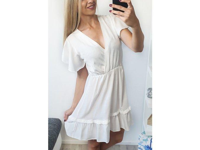 damske elegantne biele letne saty volanikove sofyi