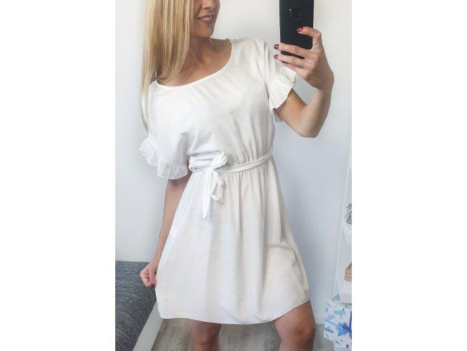 damske biele elegantne volanikove saty soyfi