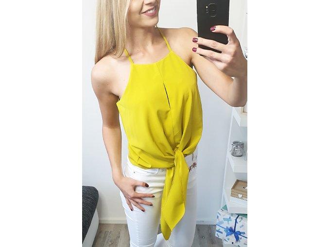 Žltý elegantný top na zaväzovanie