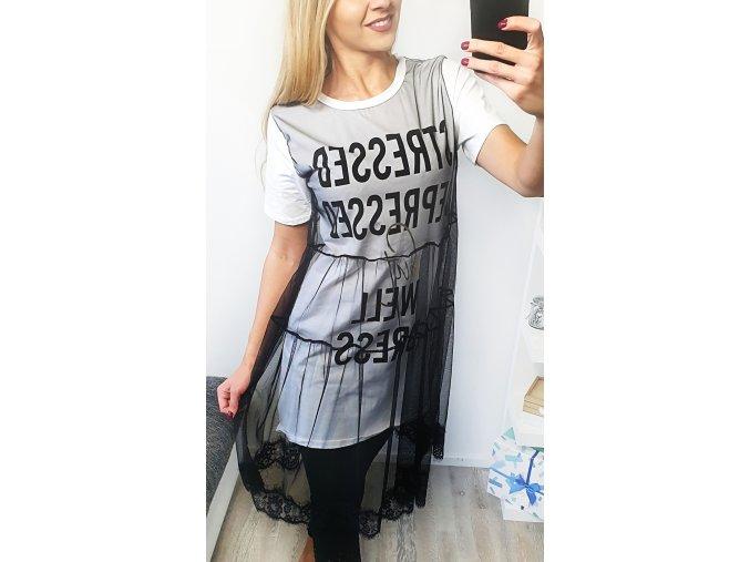 Dámske tričkové bielo čierne šaty s čipkou