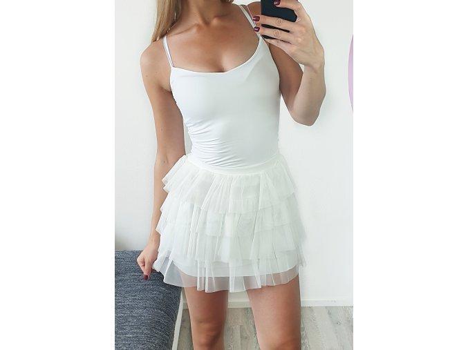 Krátka biela tilová sukňa