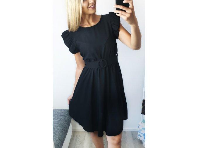 Čierne elegantné šaty s opaskom