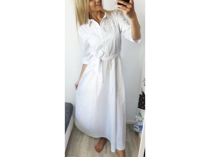Biele dlhé košeľové šaty