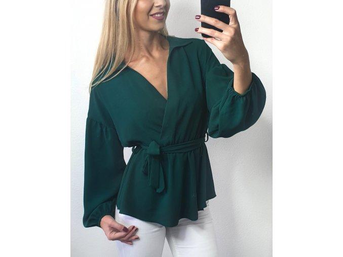 damsky elegantny zeleny top bluzka s dôhymi rukavmi sofyi sofyisk
