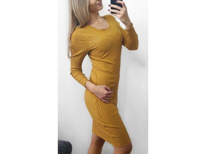 Horčicové žlté šaty s dlhými rukávmi