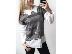 Damsky sedy glitrovy sveter s koselou sofyi