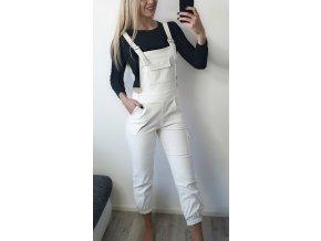 Biele damske nohavice na traky overal sofyi