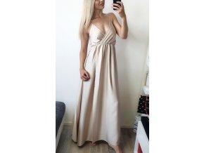 Hnedo zlaté elegantné saténové šaty