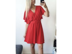 Červené elegantné šaty nad kolená s opaskom