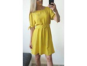 Žlté elegantné šaty s opaskom nad kolená