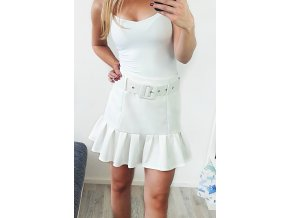 Biela elegantná sukňa s opaskom