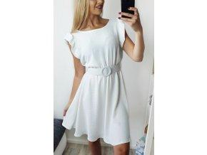 Biele elegantné šaty s opaskom