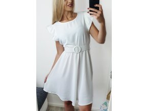 Biele letné šaty s opaskom