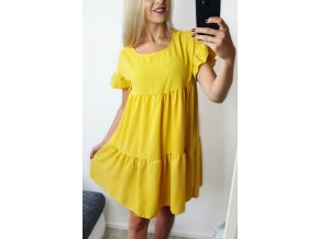 Žlté dlhé volánikové voľné šaty