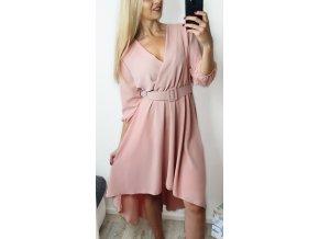 Ružové púdrové elegantné šaty s opaskom
