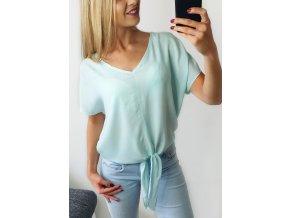 Ľahké príjemné letné mintové tričko na uväzovanie
