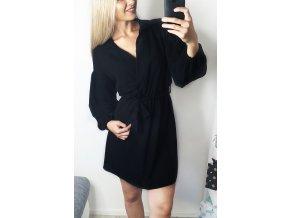 Čierné elegantné šaty s dlhými rukávmi