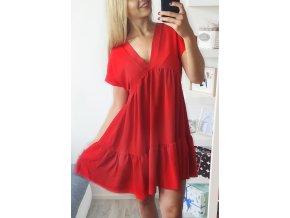 Červené letné voľné šaty