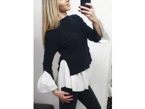 Bielo čierna košeľa so svetríkom