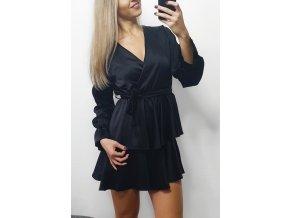 Čierne saténové elegantné šaty