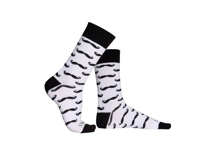 ponožky s kníry bílé m