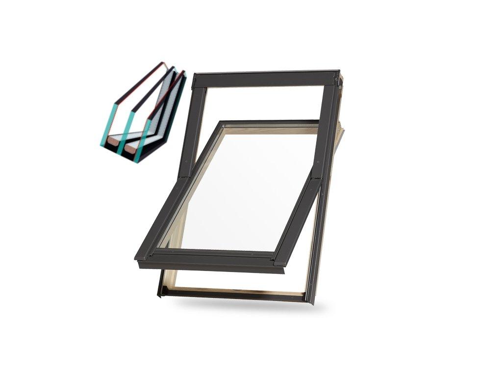Dřevěné střešní okno s trojsklem