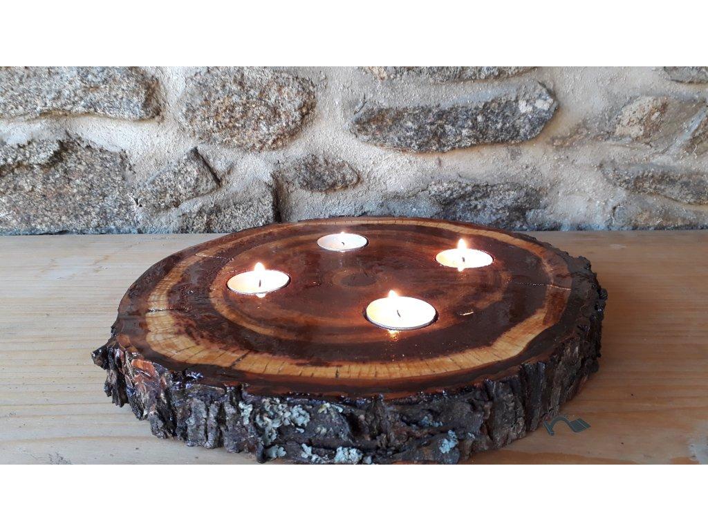 Adventní vánoční svícen dřevěný kulatý 4 svíčky