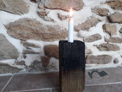 Dřevěný svícen trámek lakovaný