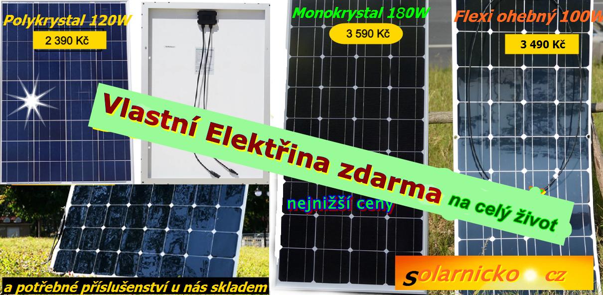 Solární panely, konektory, držáky na panel, solární regulátory. Vše skladem a za prima ceny.