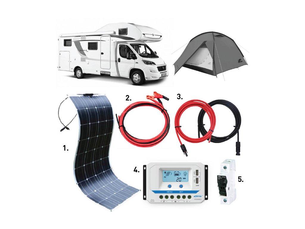 flexibilni solarni panel 100wp karavan set