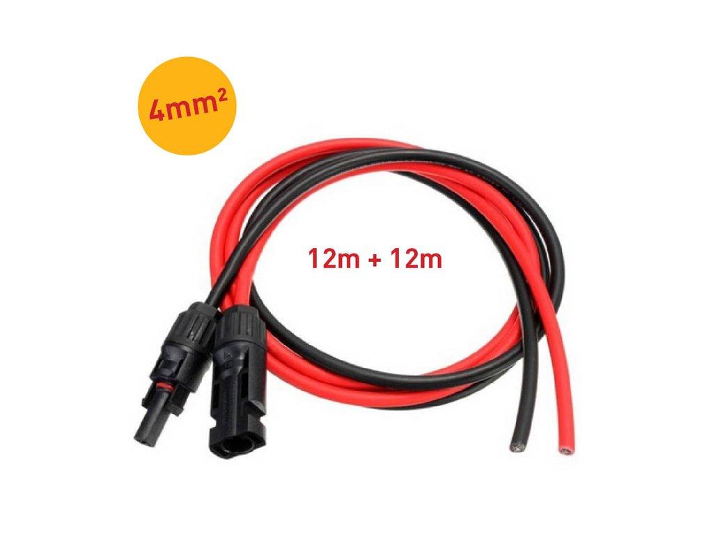 solarni kabely 4mm mc4 konektory 12m