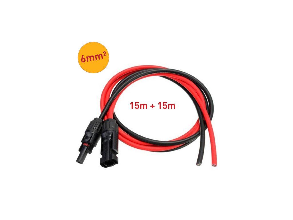 solarni kabely 6mm mc4 konektory 15m