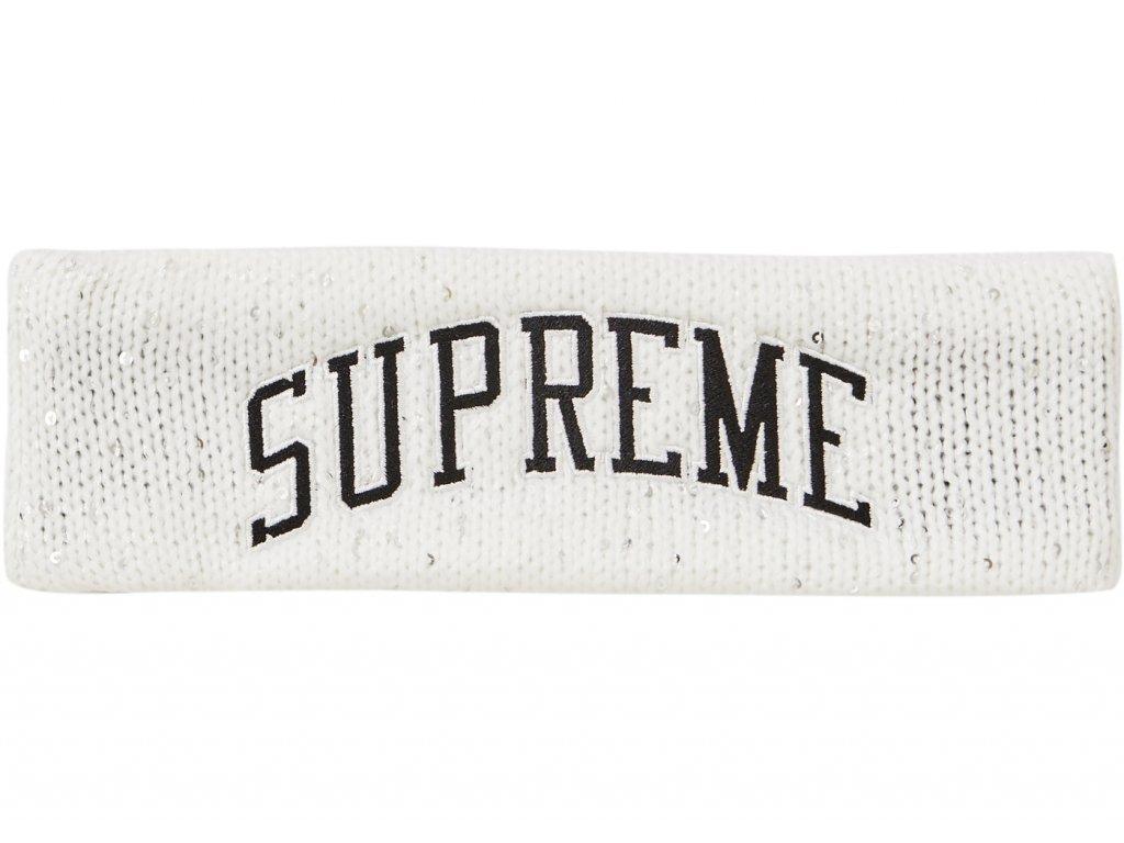 Supreme New Era Sequin Arc Logo Headband White