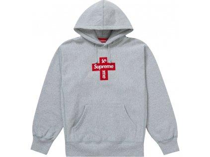 Supreme Cross Box Logo Hooded Sweatshirt Heather Grey