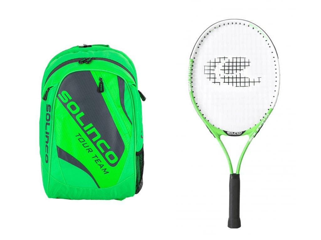 Set batoh Solinco neon green + raketa Solinco Junior 23