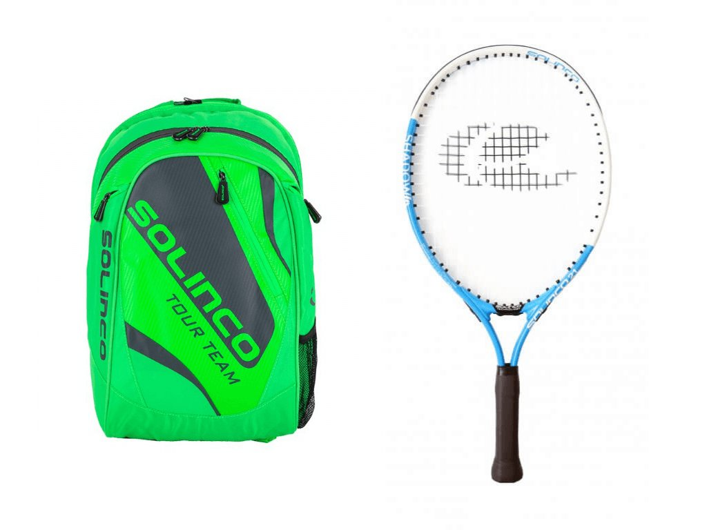 Set batoh Solinco neon green + raketa Solinco Junior 21
