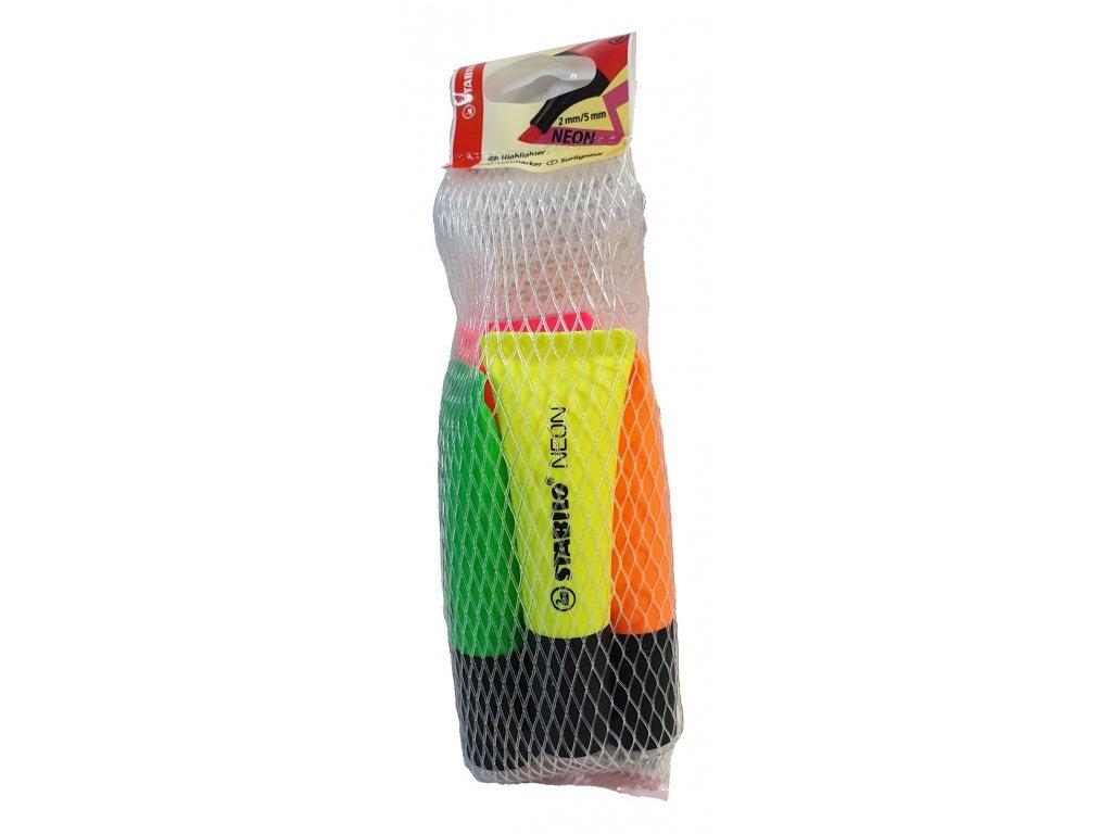 Zvýrazňovač Neon, 4 barvy, 2-5 mm, STABILO