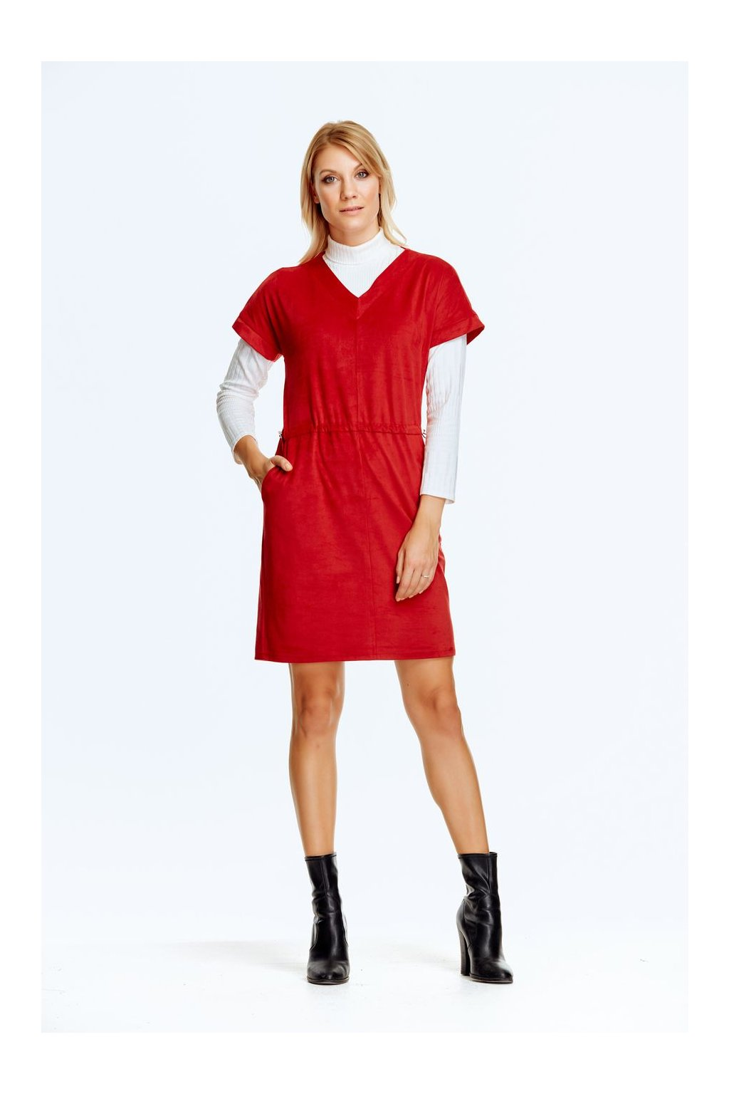 Dámské semišové šaty s kapsami