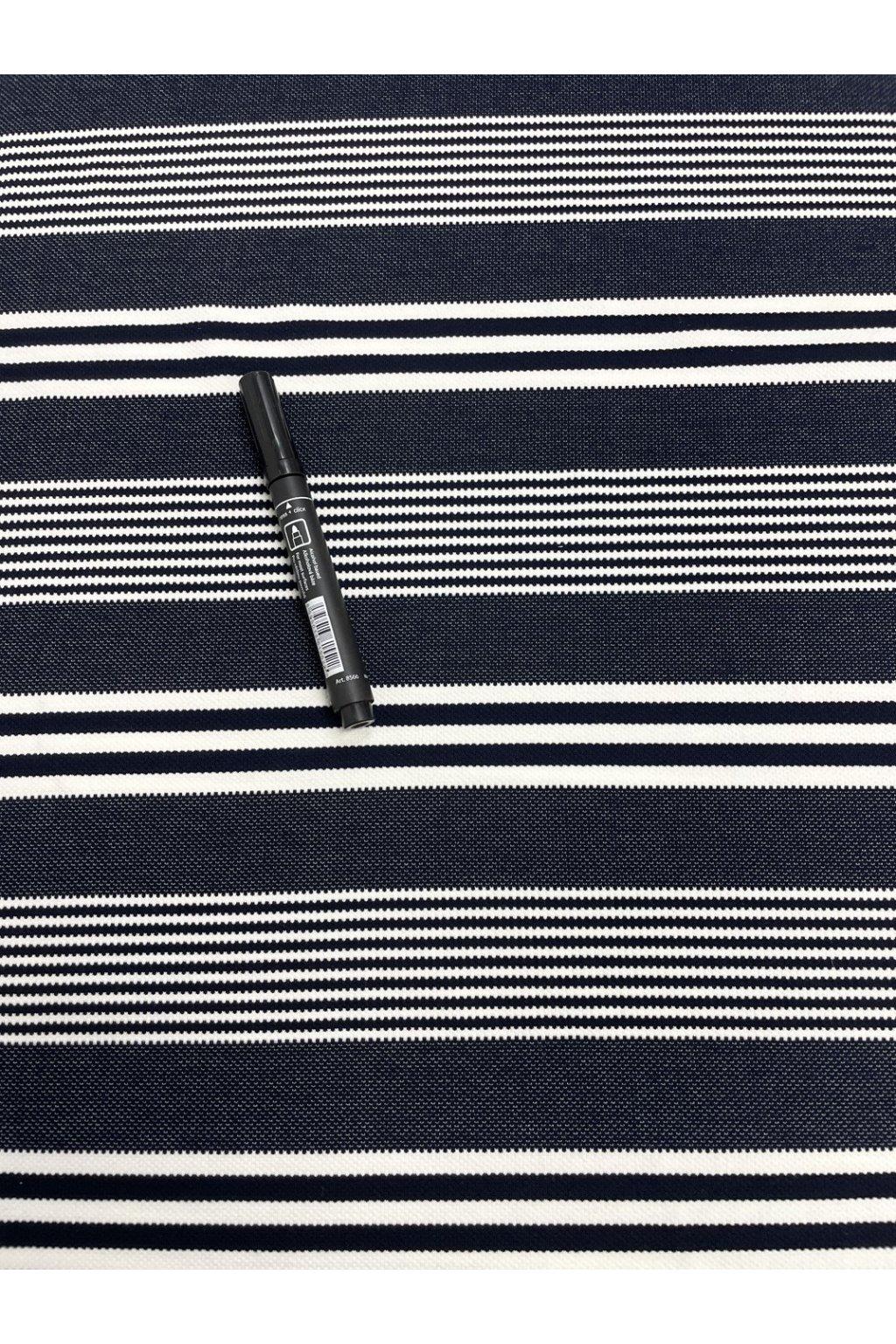 Látka/metráž - úplet černo-bílý pruh - 14921/600 detail
