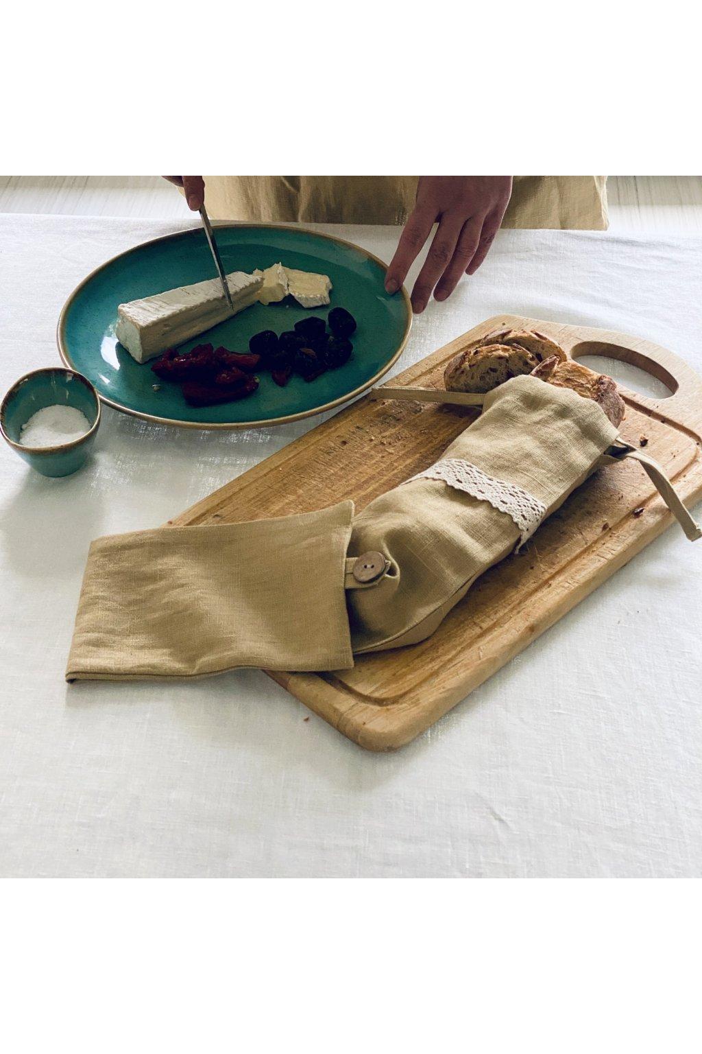 Lněný pytlík na bagetu hořčice