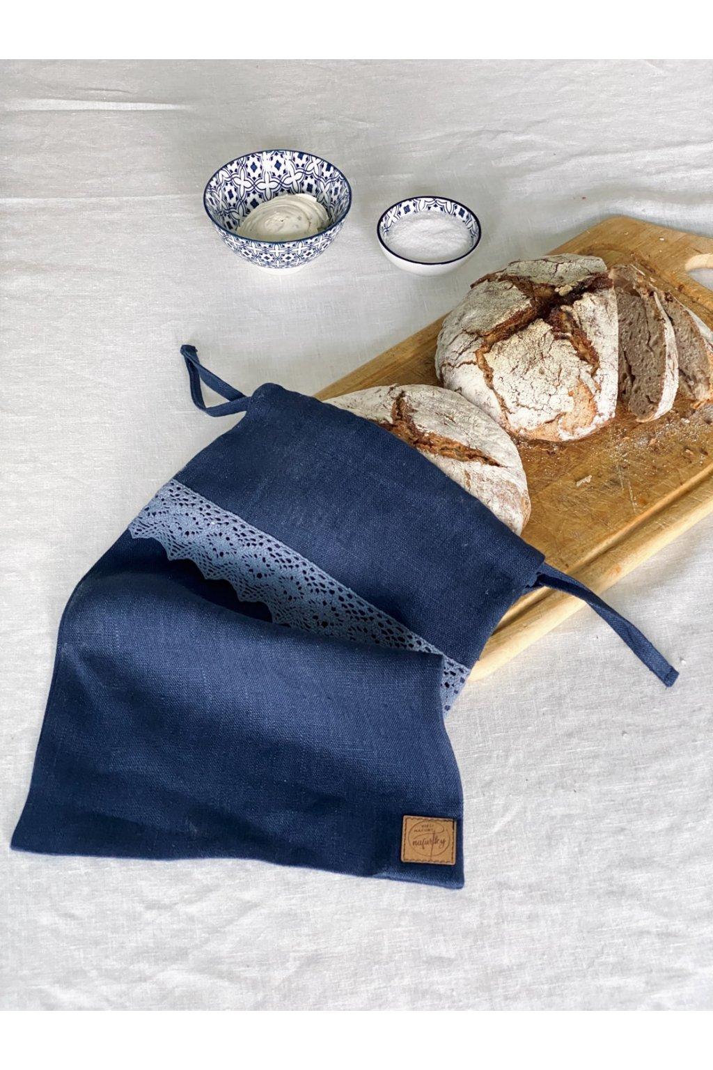 Lněný pytlík na chléb modrá