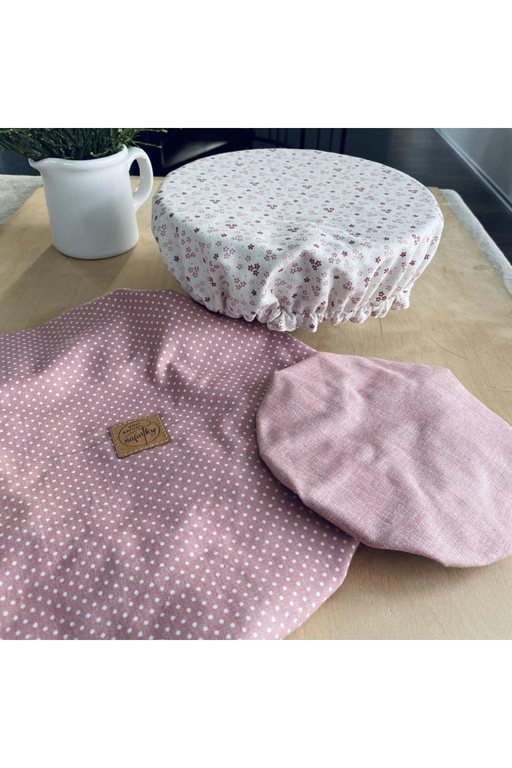 Látkové kryty na misky - set růžový