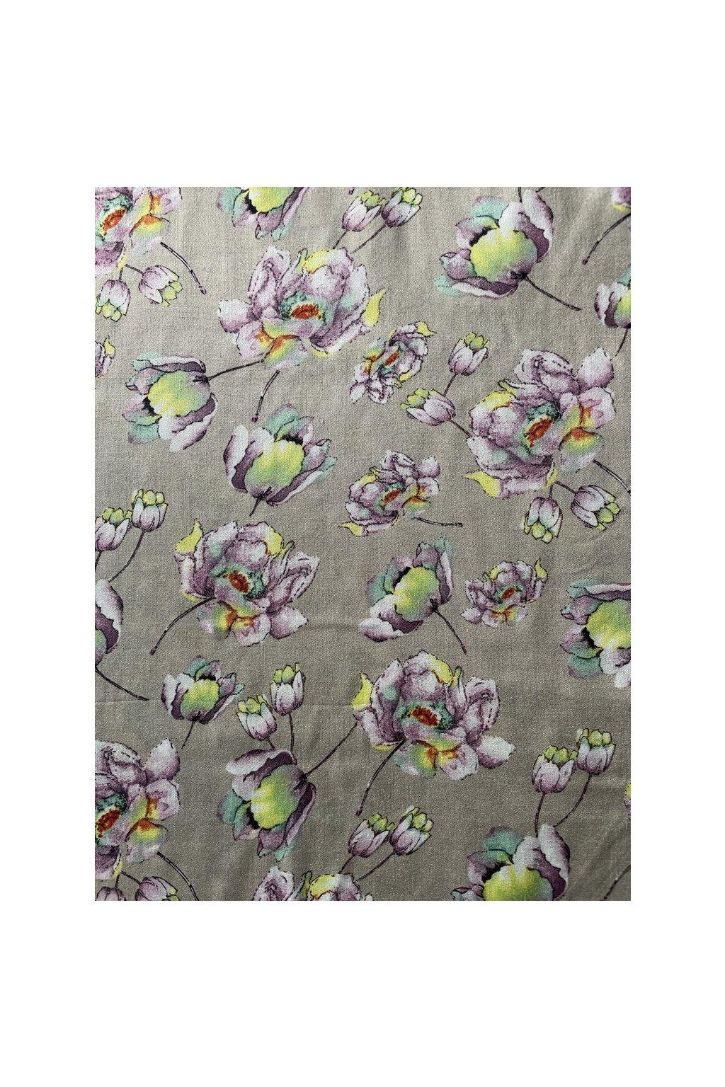 Tkanina  květy béžové