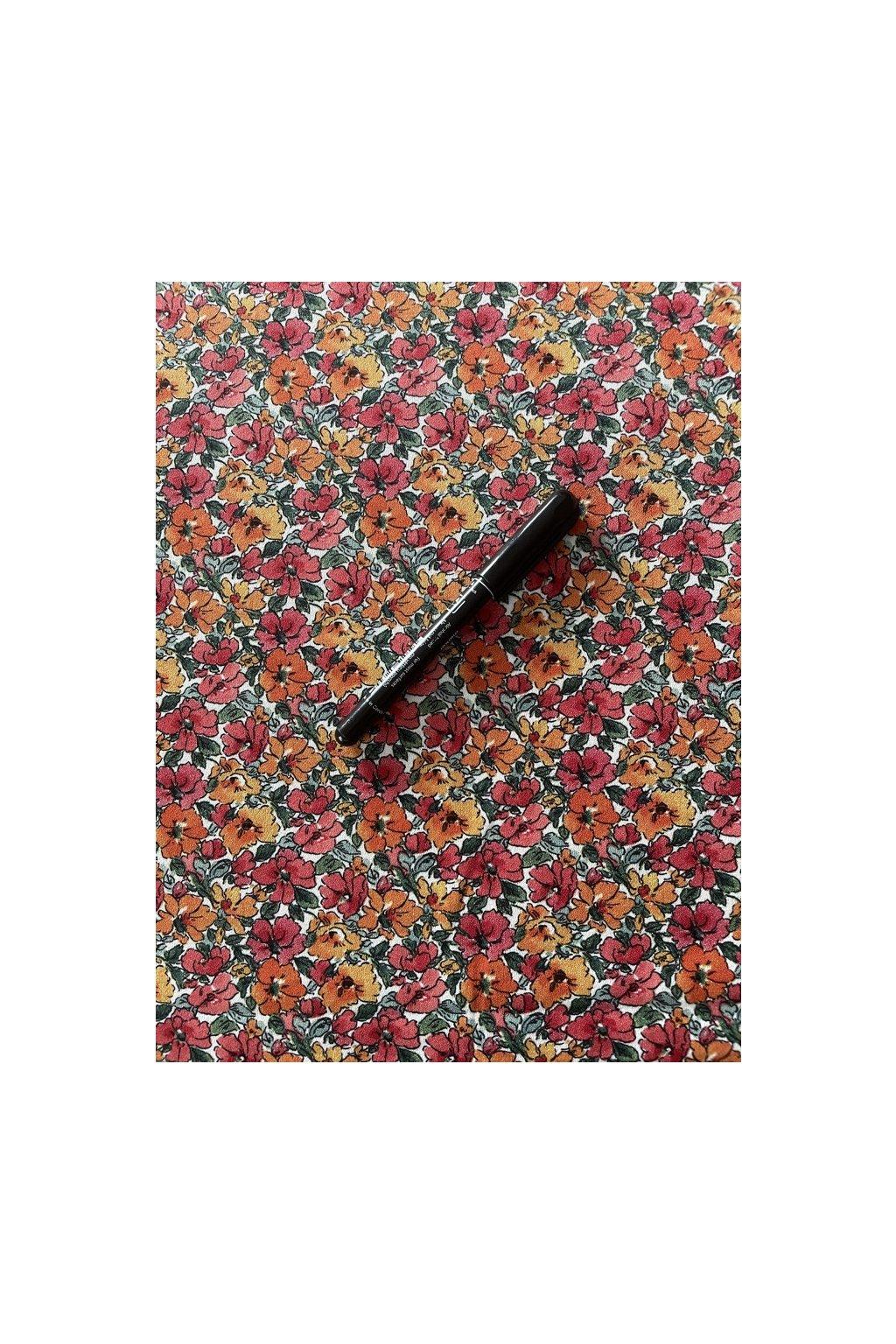 Tkanina kvítky oranžové