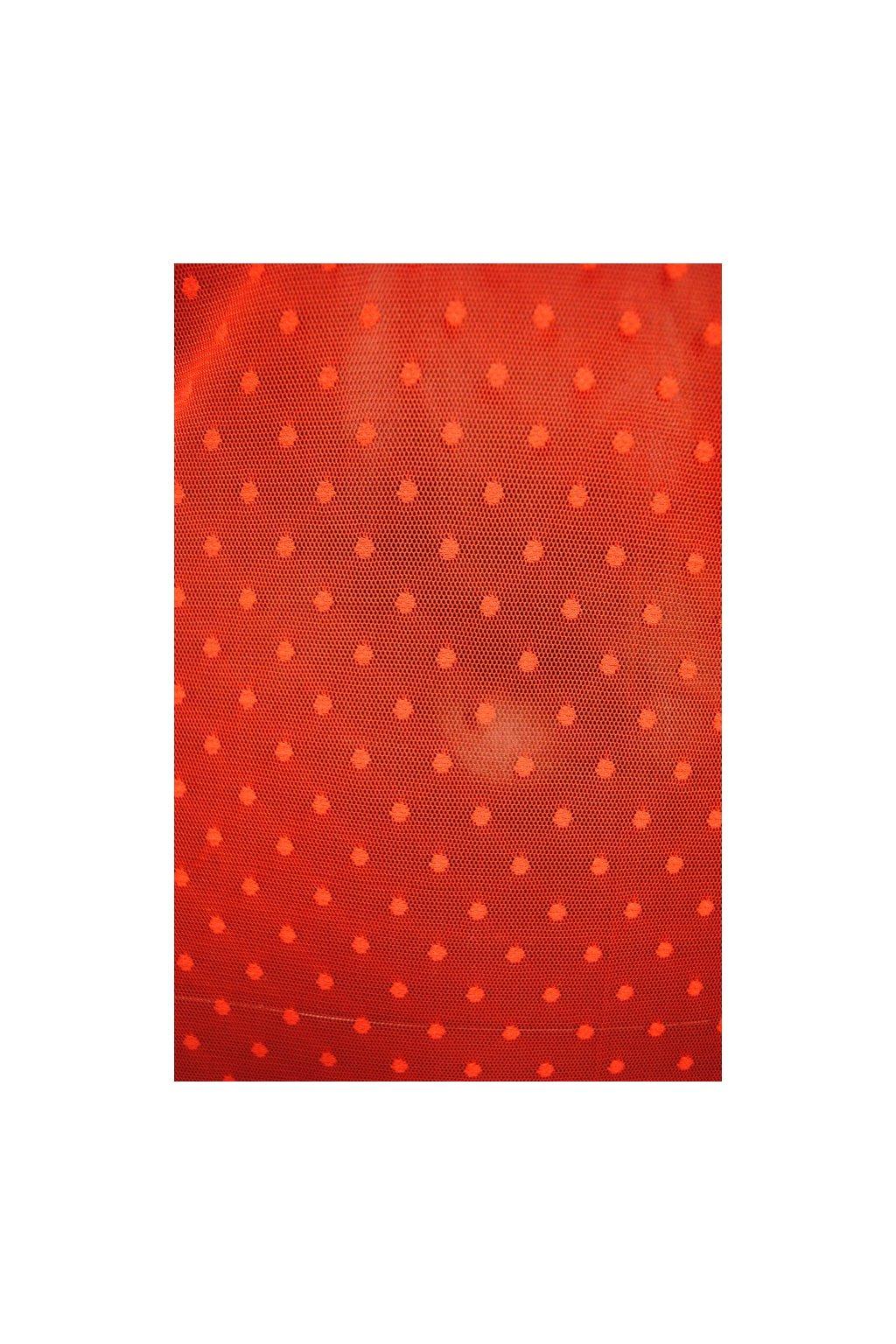 Elastický tyl s puntíkem červený