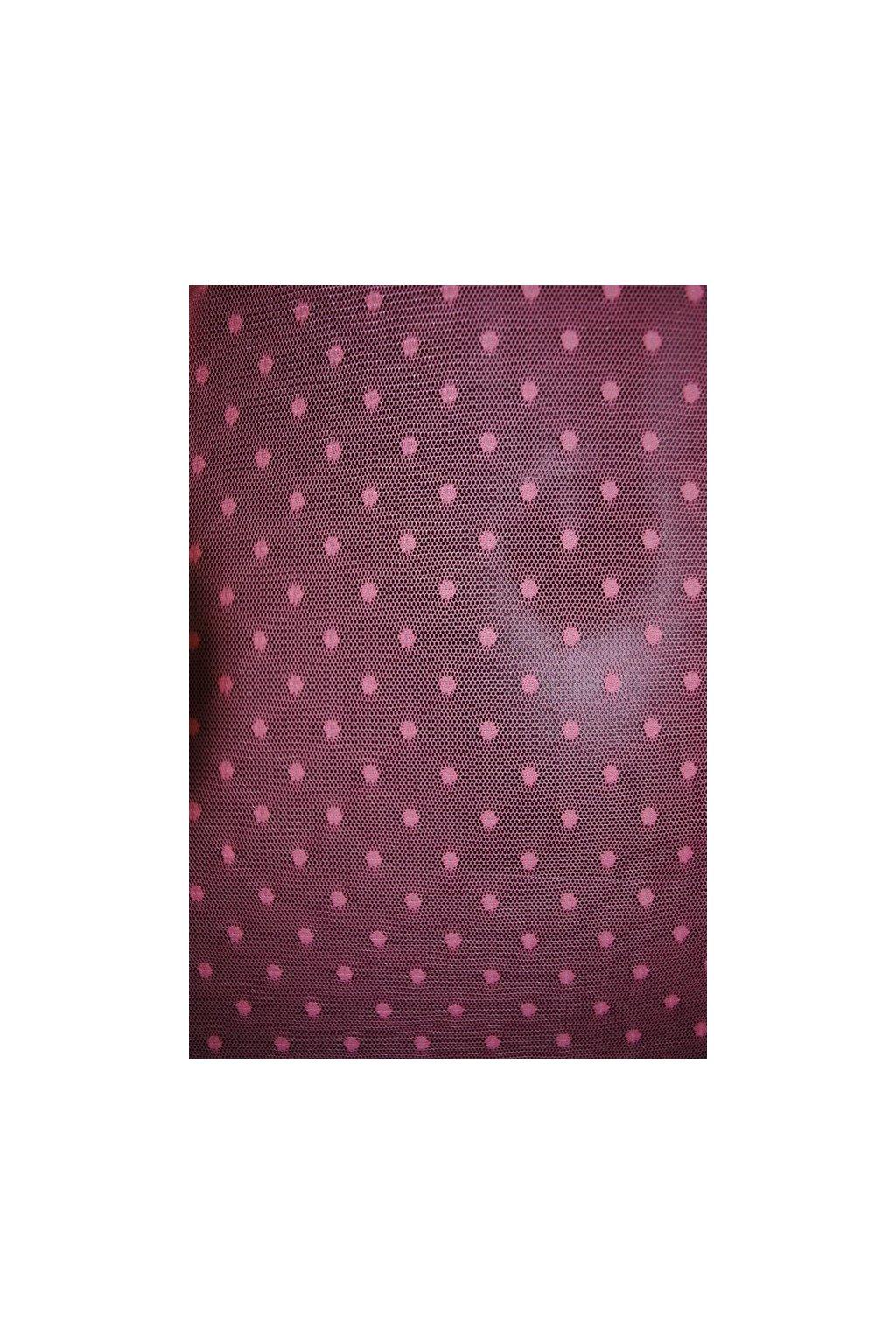 Elastický tyl s puntíkem růžový