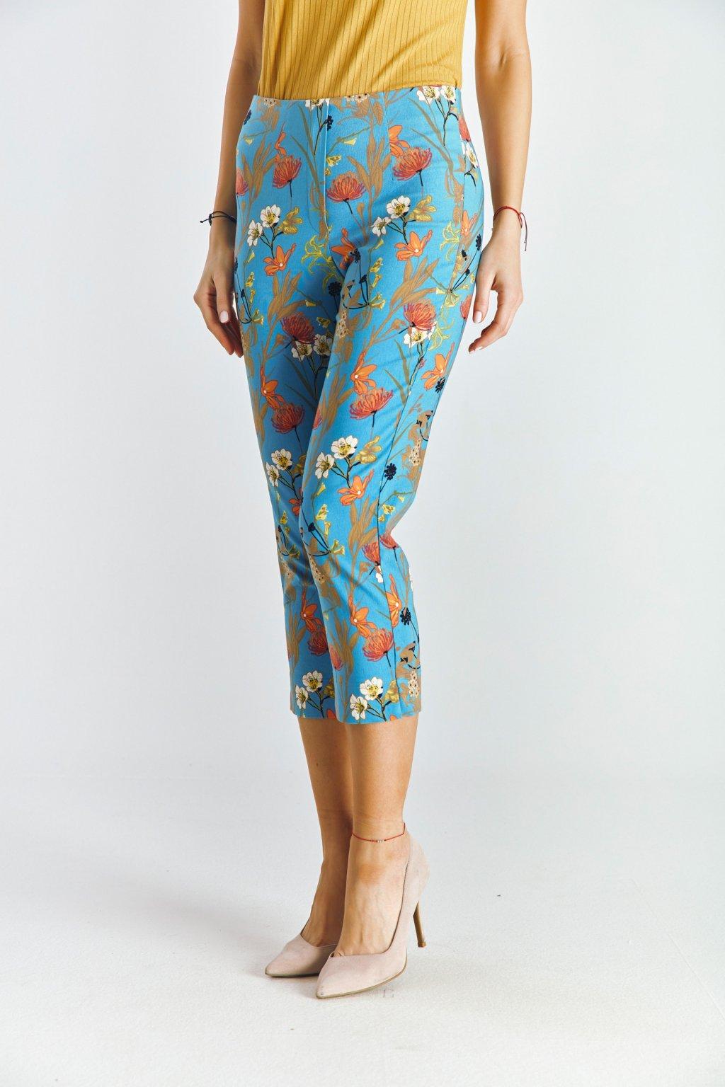Dámské 3/4 kalhoty do gumy květy modré