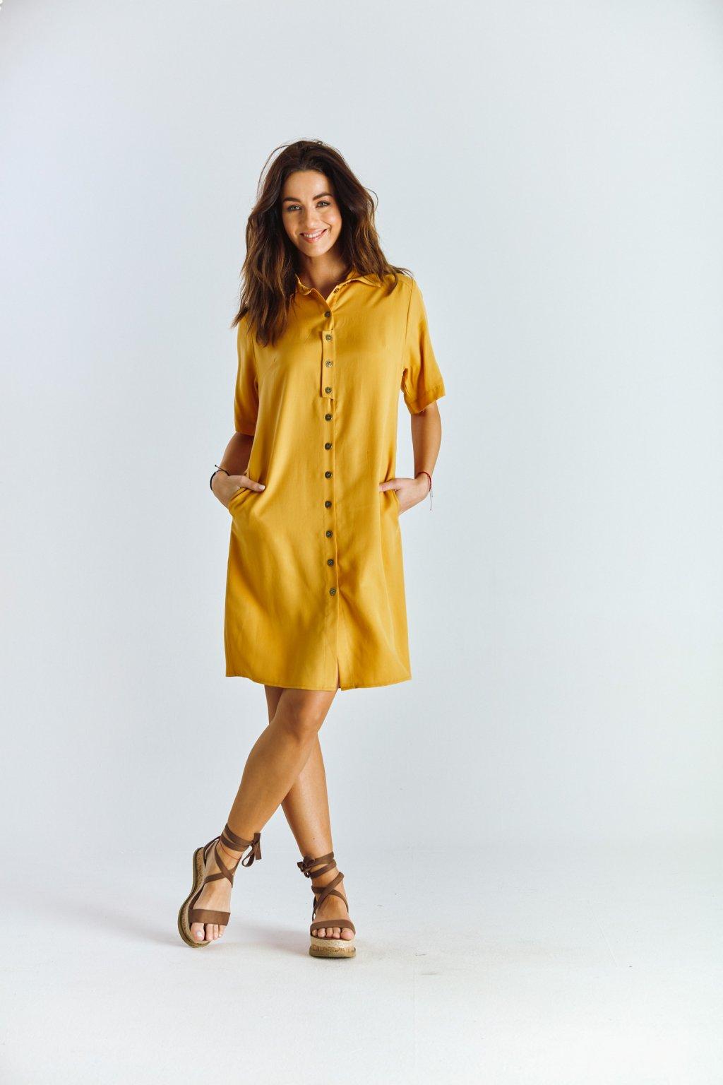 Dámské šaty košilové žluté